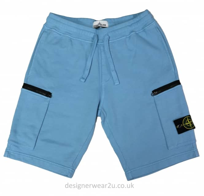 Stone Island Stone Island Sky Blue Cotton Sweat Shorts