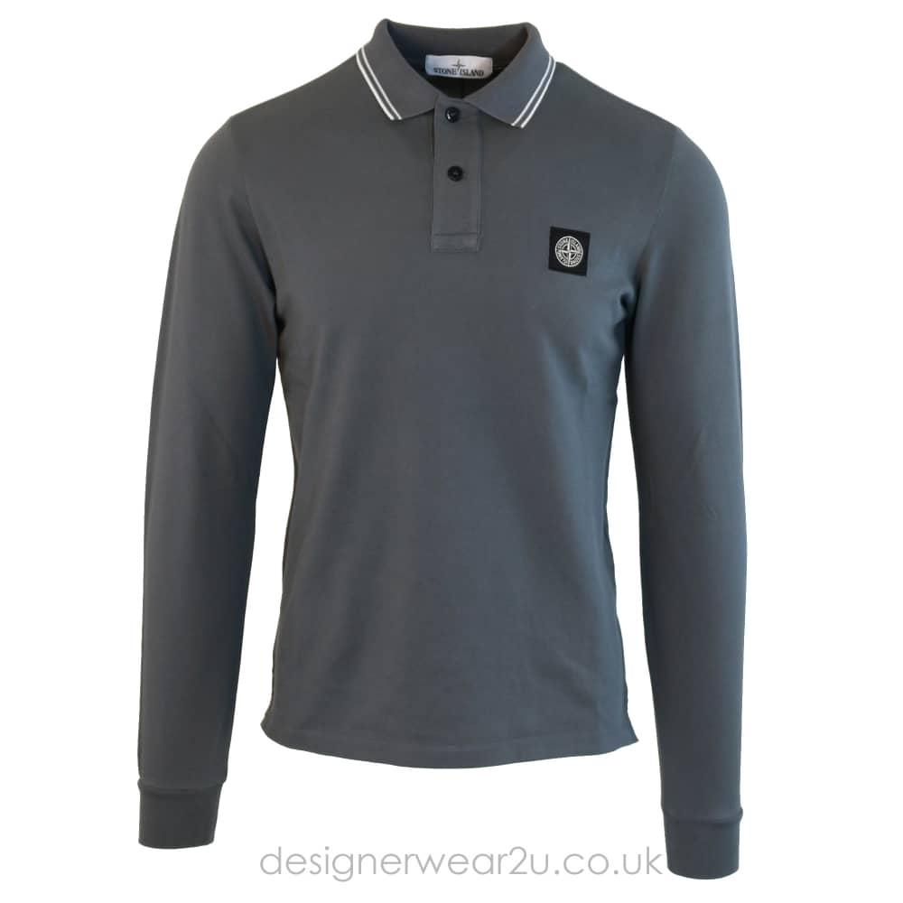550e96aef29 S.Island Stone Island Slim Fit Long Sleeve Polo Shirt in Grey - Polo ...