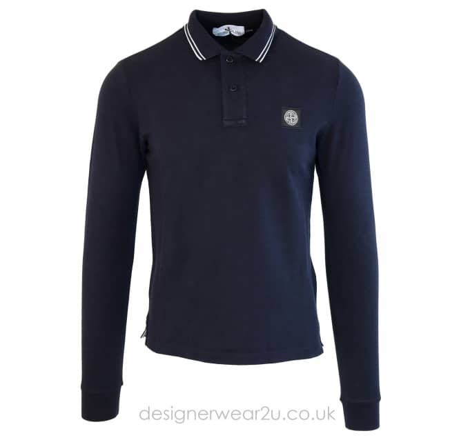 Stone Island Stone Island Slim Fit Long Sleeve Polo Shirt in Navy