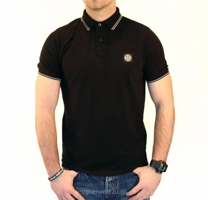3cadae364b8 S.Island Stone Island Black Slim Fit Short Sleeved Polo Shirt ...