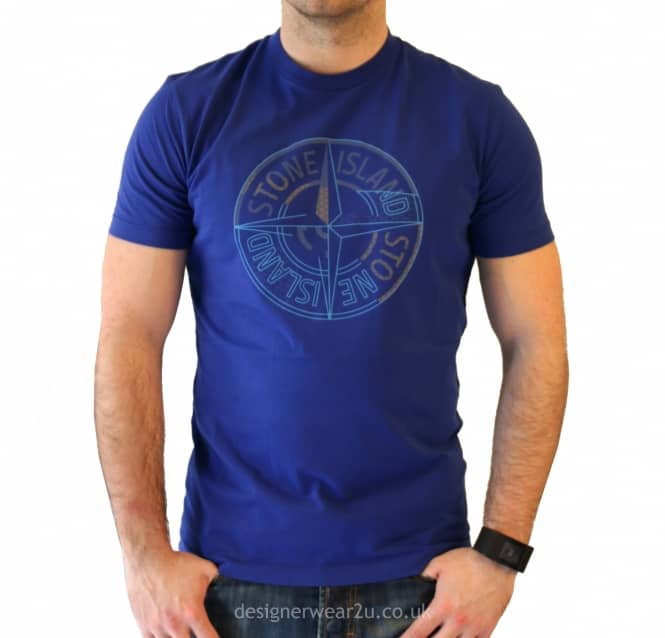 cb02b60b060d8 S.Island Stone Island Blue T-Shirt With Printed Logo - Holiday Shop ...