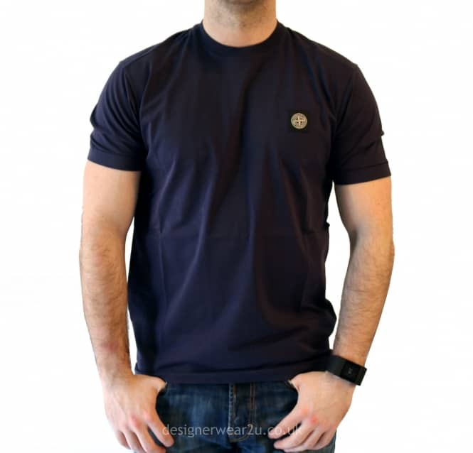 66e6de8640bff S.Island Stone Island Navy T-Shirt With Logo Badge - Holiday Shop ...
