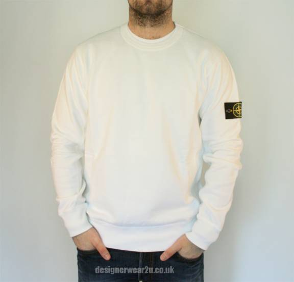 S Island Stone Island White Cotton Crew Neck Sweatshirt