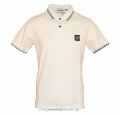 Stone Island White Slim Fit Short Sleeved Polo Shirt