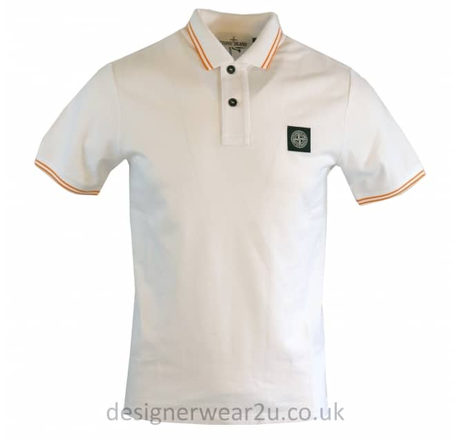 Stone Island Stone Island White Slim Fit Short Sleeved Polo Shirt