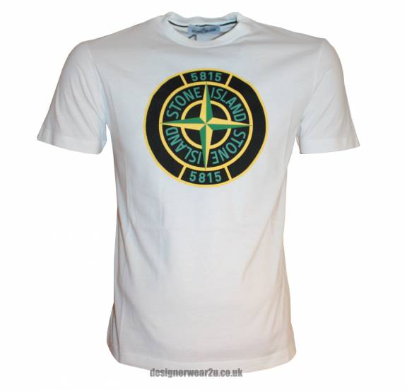 Stone Island White T Shirt With Large Compass Printed Logo