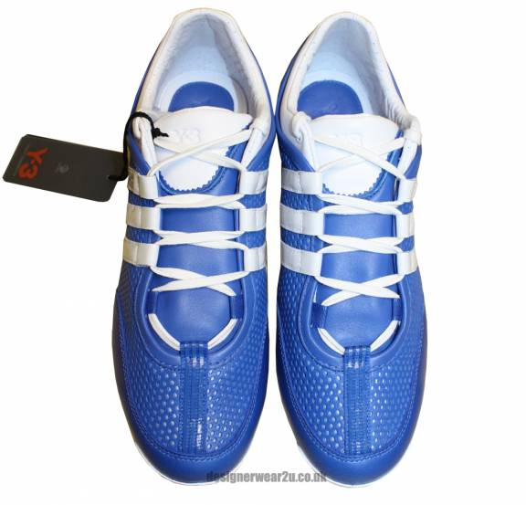 pretty nice d058c e9835 Y3 Blue Perforated Leather Boxing Trainers With White Trim